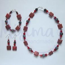 Дамски комплект колие, гривна и обеци от червен тюркоаз, кафяв ахат, мрамор корал и сребро