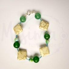 Дамска гривна от бял тюркоаз, зелен авантюрин и сребро