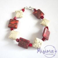 Дамска гривна от бял тюркоаз, червен тюркоаз, мрамор корал и сребро