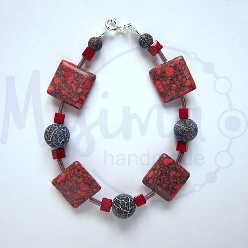 Дамска гривна от червен тюркоаз, кафяв ахат, мрамор корал и сребро