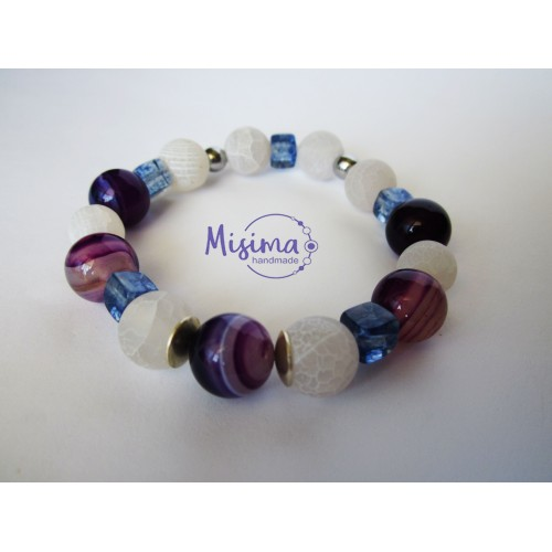 Дамска гривна от пурпурен ахат, бял ахат, син мъхест кварц, хематит и сребро