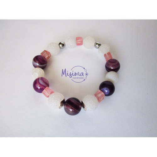 Дамска гривна от пурпурен ахат, бял ахат, вишнев кварц и хематит сребро