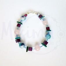 Дамска гривна от розов кварц, седеф, мрамор аметист, камък дъга и сребро