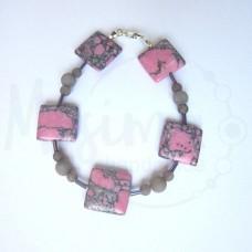 Дамска гривна от розов тюркоаз, сив нефрит и сребро