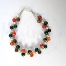 Дамска гривна от тигрово око, естествени перли, червен сардоникс, мрамор изумруд и сребро