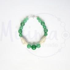 Дамска гривна от зелен авантюрин, бял тюркоаз и сребро