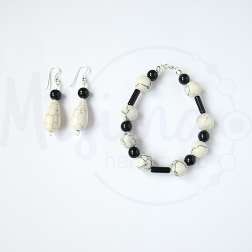 Дамски комплект гривна и обеци от бял тюркоаз, туркенит, оникс и сребро