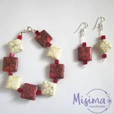 Дамски комплект гривна и обеци от бял тюркоаз, червен тюркоаз, мрамор корал и сребро