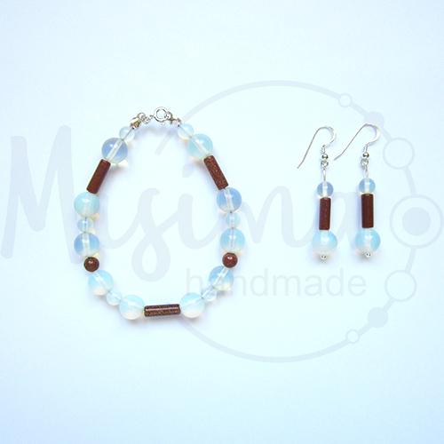 Дамски комплект гривна и обеци от опал, пустинен пясък и сребро