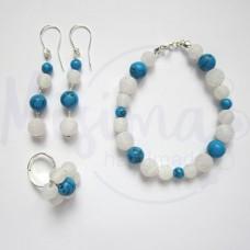 Дамски комплект гривна, обеци и пръстен от бял ахат, син тюркоаз и сребро
