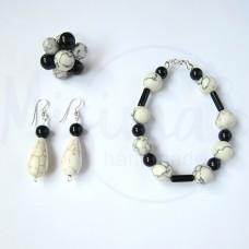 Дамски комплект гривна, обеци и пръстен от бял тюркоаз, туркенит, оникс и сребро