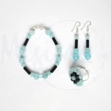 Дамски комплект гривна, обеци и пръстен от небесен кварц, нощ в Кайро и сребро