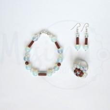 Дамски комплект гривна, обеци и пръстен от опал, пустинен пясък и сребро