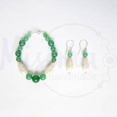 Дамски комплект гривна и обеци от зелен авантюрин, бял тюркоаз и сребро