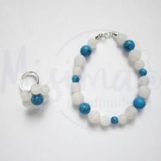 Дамски комплект гривна и пръстен от бял ахат, син тюркоаз и сребро