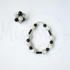 Дамски комплект гривна и пръстен от бял тюркоаз, туркенит, оникс и сребро