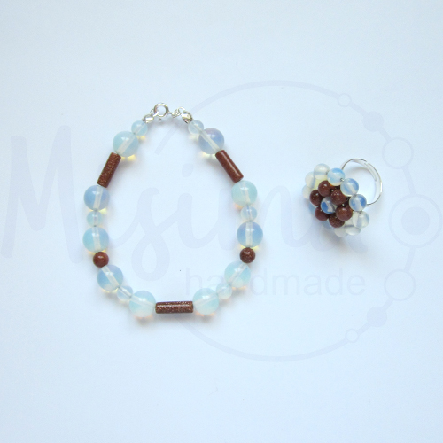 Дамски комплект гривна и пръстен от опал, пустинен пясък и сребро