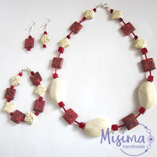 Дамски комплект колие, гривна и обеци от бял тюркоаз, червен тюркоаз, мрамор корал и сребро