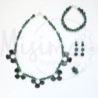 Дамски комплект колие, гривна, обеци и пръстен от малахит, нощ в Кайро и сребро