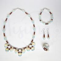 Дамски комплект колие, гривна, обеци и пръстен от опал, пустинен пясък и сребро