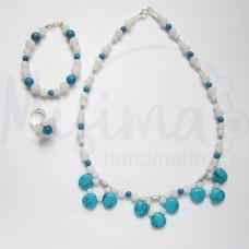 Дамски комплект колие, гривна и пръстен от бял ахат, син тюркоаз и сребро