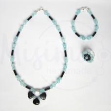 Дамски комплект колие, гривна и пръстен от небесен кварц, нощ в Кайро и сребро