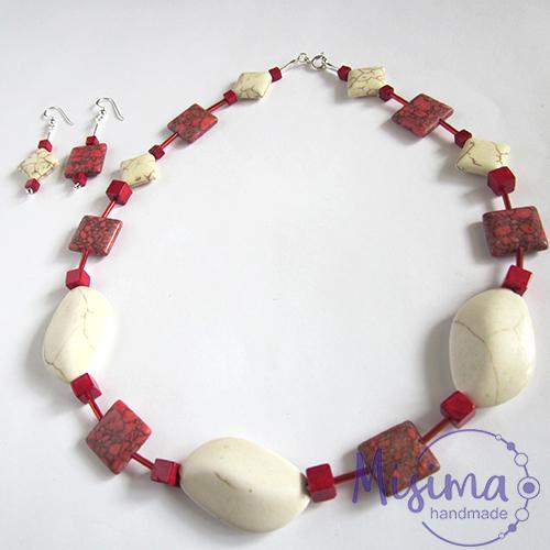Дамски комплект колие и обеци от бял тюркоаз, червен тюркоаз, мрамор корал и сребро