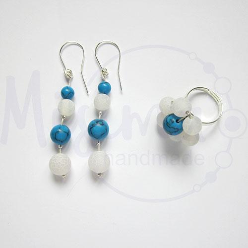 Дамски комплект обеци и пръстен от бял ахат, син тюркоаз и сребро