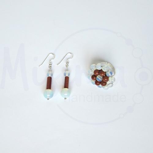 Дамски комплект обеци и пръстен от опал, пустинен пясък и сребро