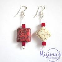 Дамски обеци от бял тюркоаз, червен тюркоаз, мрамор корал и сребро