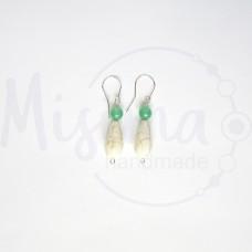 Дамски обеци от зелен авантюрин, бял тюркоаз и сребро