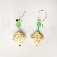Дамски обеци от бял тюркоаз, зелен авантюрин и сребро