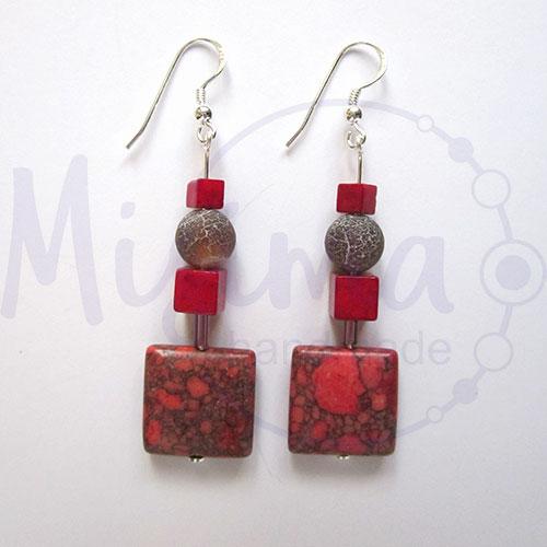 Дамски обеци от червен тюркоаз, кафяв ахат, мрамор корал и сребро