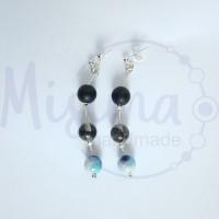 Дамски обеци от оникс, сив нефрит, черен мъхест кварц, камък дъга и сребро