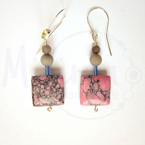 Дамски обеци от розов тюркоаз, сив нефрит и сребро