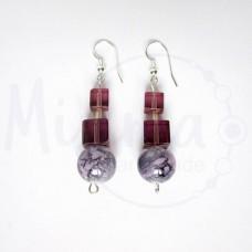 Дамски обеци от пурпурен ахат, стъклени кристали и сребро