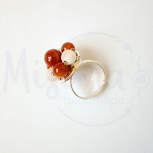 Дамски пръстен от бял ахат, червен сардоникс и сребро