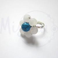 Дамски пръстен от бял ахат, син тюркоаз и сребро