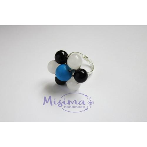 Дамски пръстен от бял нефрит, тюркоаз, оникс и сребро