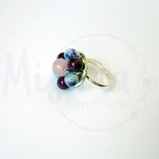 Дамски пръстен от розов кварц, седеф, мрамор аметист, камък дъга и сребро