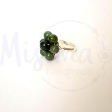 Дамски пръстен от зелен мъхест ахат, мрамор изумруд, седеф и сребро