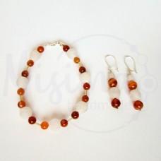 Дамски комплект гривна и обеци от бял ахат, червен сардоникс и сребро