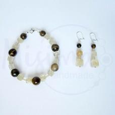 Дамски комплект гривна и обеци от тигрово око, мъхест кварц кафе и сребро