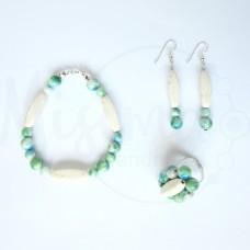 Дамски комплект гривна, обеци и пръстен от бял тюркоаз, камък дъга и сребро