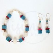 Дамски комплект гривна и обеци от бял нефрит, тюркоаз, седеф и сребро