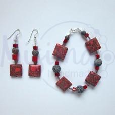 Дамски комплект гривна и обеци от червен тюркоаз, кафяв ахат, мрамор корал и сребро