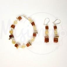 Дамски комплект гривна и обеци от мъхест кварц кафе, пустинен пясък, седеф и сребро