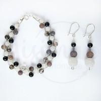 Дамски комплект гривна и обеци от оникс, бял ахат, кафяв ахат, черен мъхест кварц и сребро