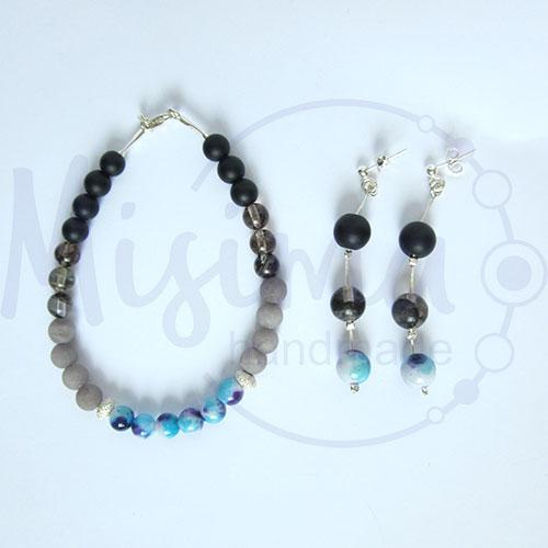 Дамски комплект гривна и обеци от оникс, сив нефрит, черен мъхест кварц, камък дъга и сребро