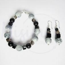 Дамски комплект гривна и обеци от оникс, черен мъхест кварц, персийски нефрит и сребро